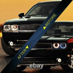 Halo Led Headlight Round Corner Light Replacement For 2008-2014 Dodge Challenger