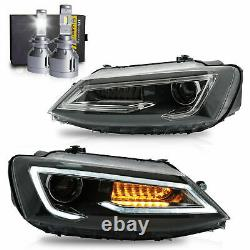 Phares Led Avec Drl Sequential Turn Sig. +h7 Ampoules Led Pour 11-14 Vw Jetta Mk6