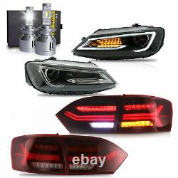 Phares Led Avecduel Beam+red Taillights+vland H7 Ampoules Led Pour 11-14 Vw Jetta