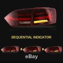 Phares Led Withdual Beam + Red Taillights + Vland Led H7 Ampoules Pour 14/11 Vw Jetta
