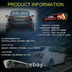 Pour 06-13 Lexus Sedan Xe20 Is250 Is350 Smoked Led Black Housing Taillight Lamp