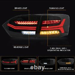 Pour 2011-2014 Vw Jetta Mk6 Fumé Avec Sequential Turn Signal Tail Lights Assembly