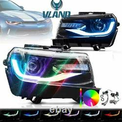 Pour 2014 Camaro Dual Beam Projector Led Rgb Drl Bar Phares Séquentiels