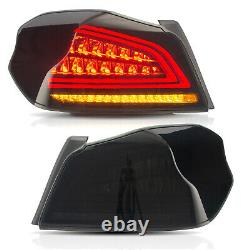 Pour 2015-2019 Subaru Wrx/sti Smoked Led Tail Lights Assembly With Sequential Turn