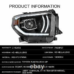 Vland Projector Led Sequential Headlight Turn Signal Pour 2014-2020 Toyota Tundra