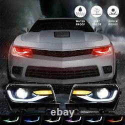Vland Rgb Phares Led Multi Couleur Drl Sequential Turn Signal Pour 14-15 Camaro